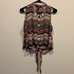 Stripped Pattern Tie-Front Top